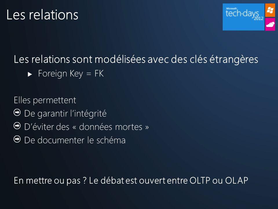 Les relations sont modélisées avec des clés étrangères Foreign Key = FK Elles permettent De garantir lintégrité Déviter des « données mortes » De documenter le schéma En mettre ou pas .
