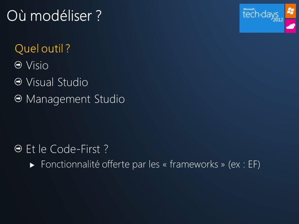 Quel outil ? Visio Visual Studio Management Studio Et le Code-First ? Fonctionnalité offerte par les « frameworks » (ex : EF) Où modéliser ?