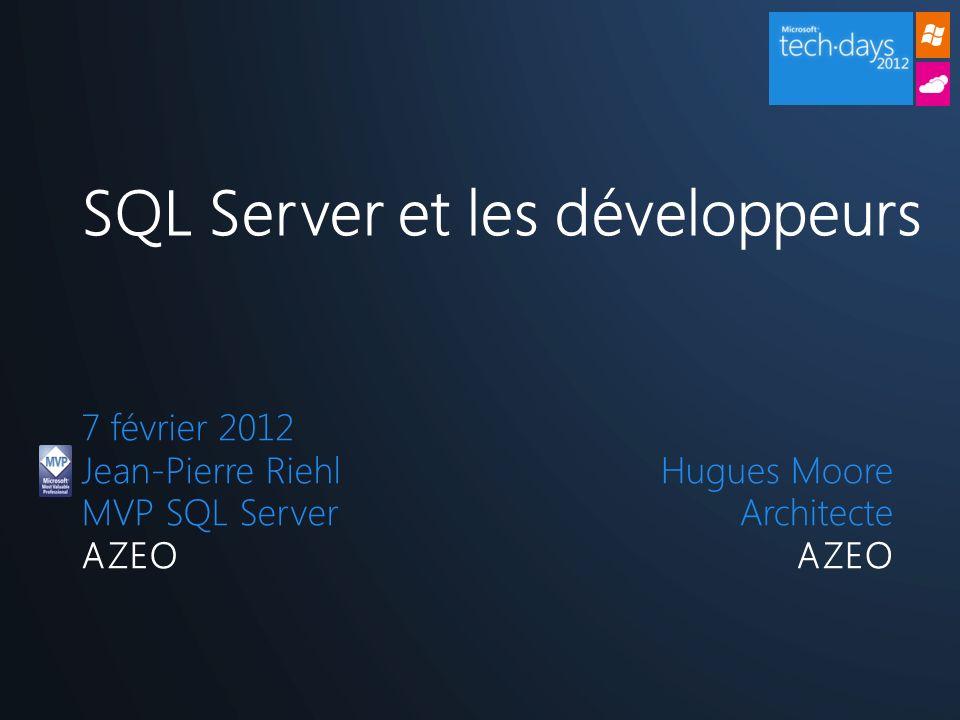 7 février 2012 Jean-Pierre Riehl MVP SQL Server AZEO SQL Server et les développeurs Hugues Moore Architecte AZEO