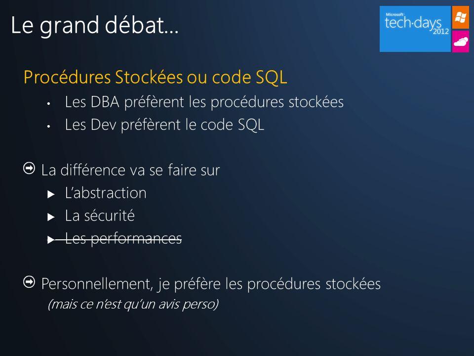 Procédures Stockées ou code SQL Les DBA préfèrent les procédures stockées Les Dev préfèrent le code SQL La différence va se faire sur Labstraction La sécurité Les performances Personnellement, je préfère les procédures stockées (mais ce nest quun avis perso) Le grand débat…