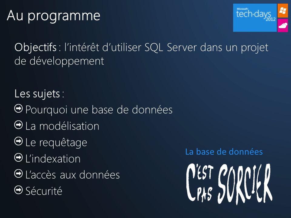 Objectifs : lintérêt dutiliser SQL Server dans un projet de développement Les sujets : Pourquoi une base de données La modélisation Le requêtage Lindexation Laccès aux données Sécurité Au programme La base de données