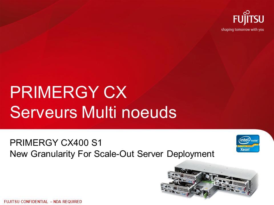 11 FUJITSU CONFIDENTIAL – NDA REQUIRED PRIMERGY CX400 – généralités Le châssis CX400 S1 + 2 alimentations, 4 ventilateurs + module disques ( 12 disques 3.5 ou 24 disques 2.5) + 2 ou 4 nœuds serveurs soit 8 proc., 72 modules mémoire, et 2 IO contrôleurs + GPGPU 64 cores, 2.048To de RAM et 72To de stockage Nœuds serveurs 1U hot-plug biprocesseurs Le CX210 S1 est un nœud entrée de gamme équipé de processeurs Intel® Xeon® E5-2400 CX250 S1 est un nœud de calcul orienté HPC équipé de processeurs Intel® Xeon® processor E5-2600 Nœuds serveurs 2U hot-plug biprocesseurs avec GPGPU CX270 S1 est un nœud de calcul orienté HPC acceptant des GPGPU équipé de processeurs Intel® Xeon® processor E5-2600 Le châssis PRIMERGY CX400 est au format 2U dans lequel on peut intégrer 4 nœuds serveurs demi-largeur et jusquà 24 disques.