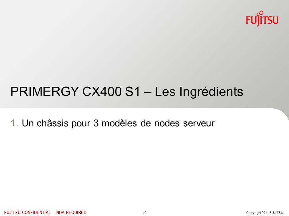 10 FUJITSU CONFIDENTIAL – NDA REQUIRED PRIMERGY CX400 S1 – Les Ingrédients 1.Un châssis pour 3 modèles de nodes serveur Copyright 2011 FUJITSU