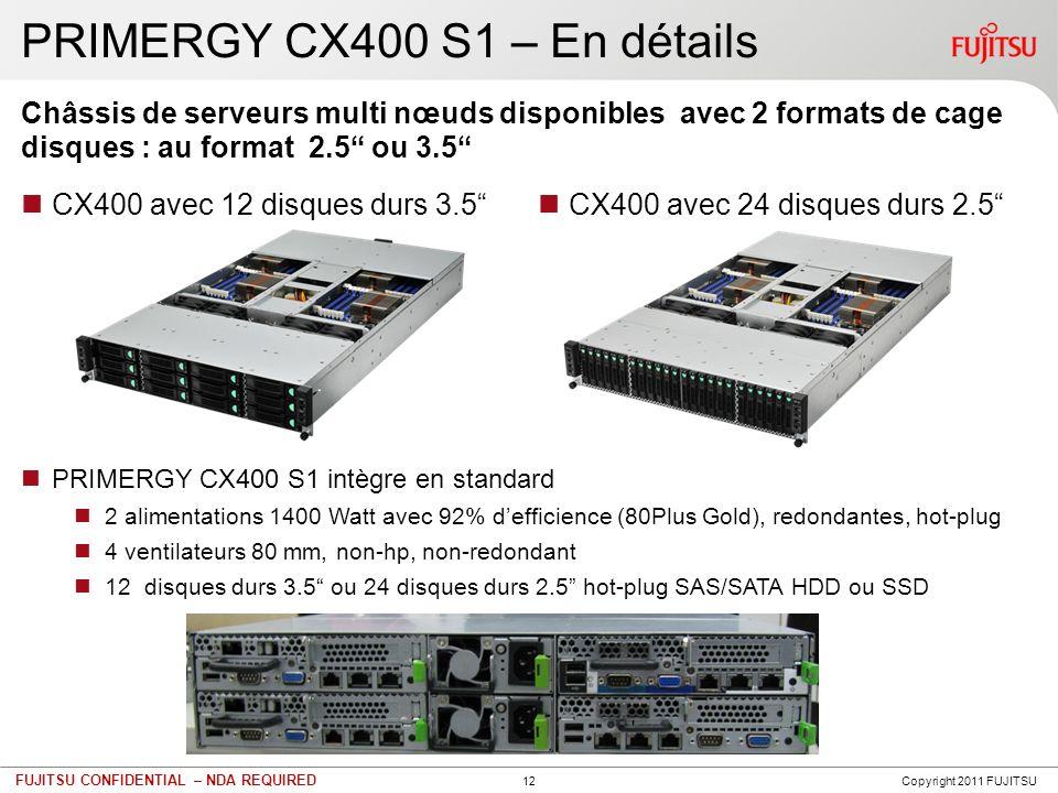 12 FUJITSU CONFIDENTIAL – NDA REQUIRED PRIMERGY CX400 S1 – En détails CX400 avec 12 disques durs 3.5 Châssis de serveurs multi nœuds disponibles avec