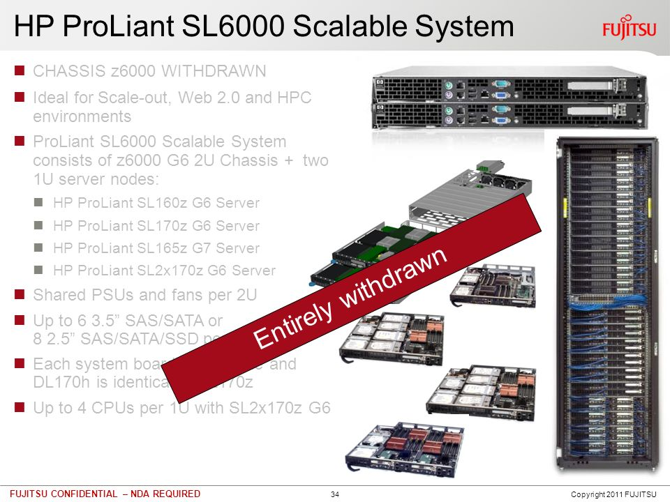 34 FUJITSU CONFIDENTIAL – NDA REQUIRED HP ProLiant SL6000 Scalable System CHASSIS z6000 WITHDRAWN Ideal for Scale-out, Web 2.0 and HPC environments Pr