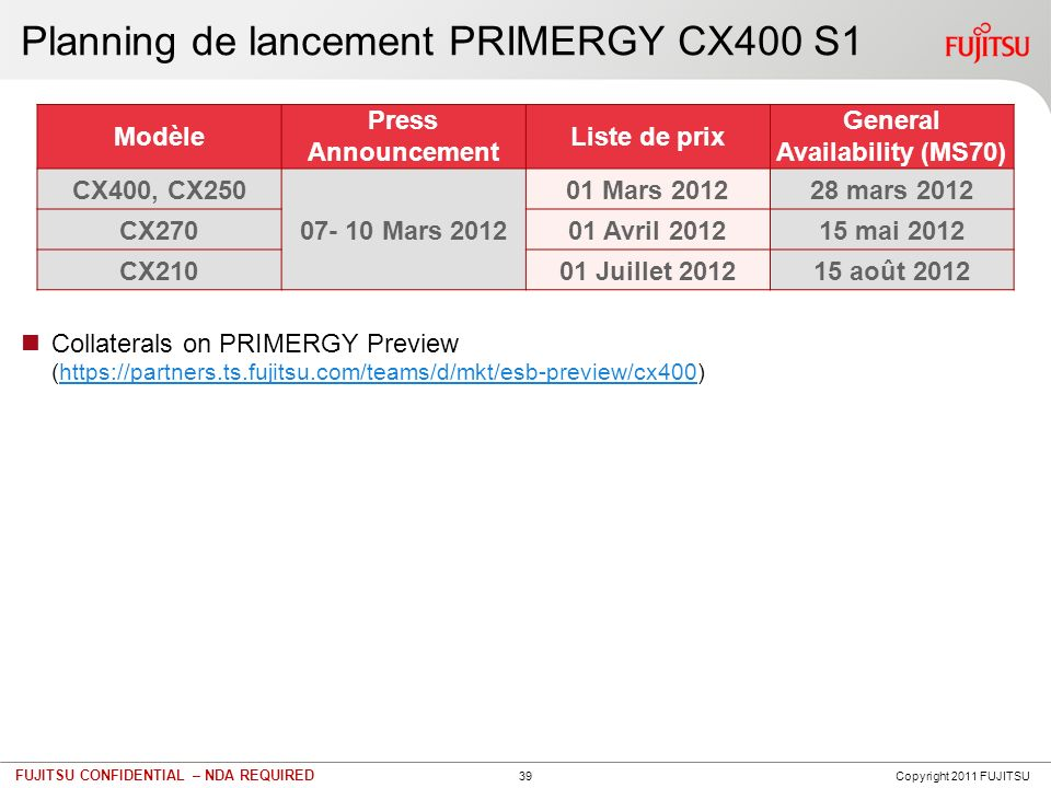 39 FUJITSU CONFIDENTIAL – NDA REQUIRED Planning de lancement PRIMERGY CX400 S1 Collaterals on PRIMERGY Preview (https://partners.ts.fujitsu.com/teams/