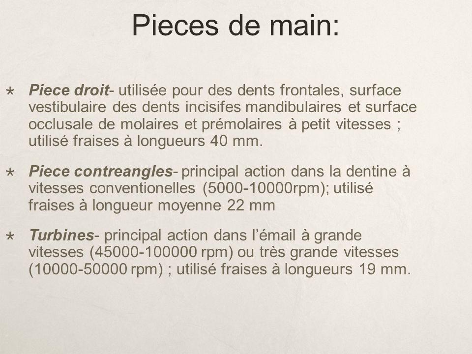 Pieces de main: Piece droit- utilisée pour des dents frontales, surface vestibulaire des dents incisifes mandibulaires et surface occlusale de molaire