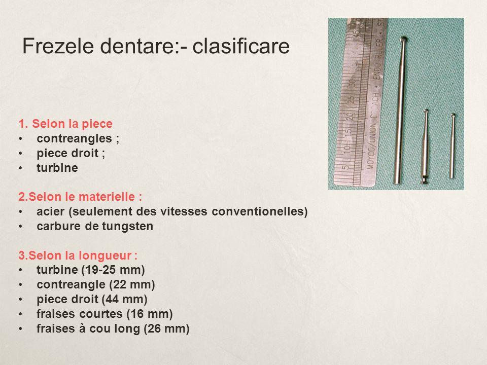 Frezele dentare:- clasificare 1. Selon la piece contreangles ; piece droit ; turbine 2.Selon le materielle : acier (seulement des vitesses conventione