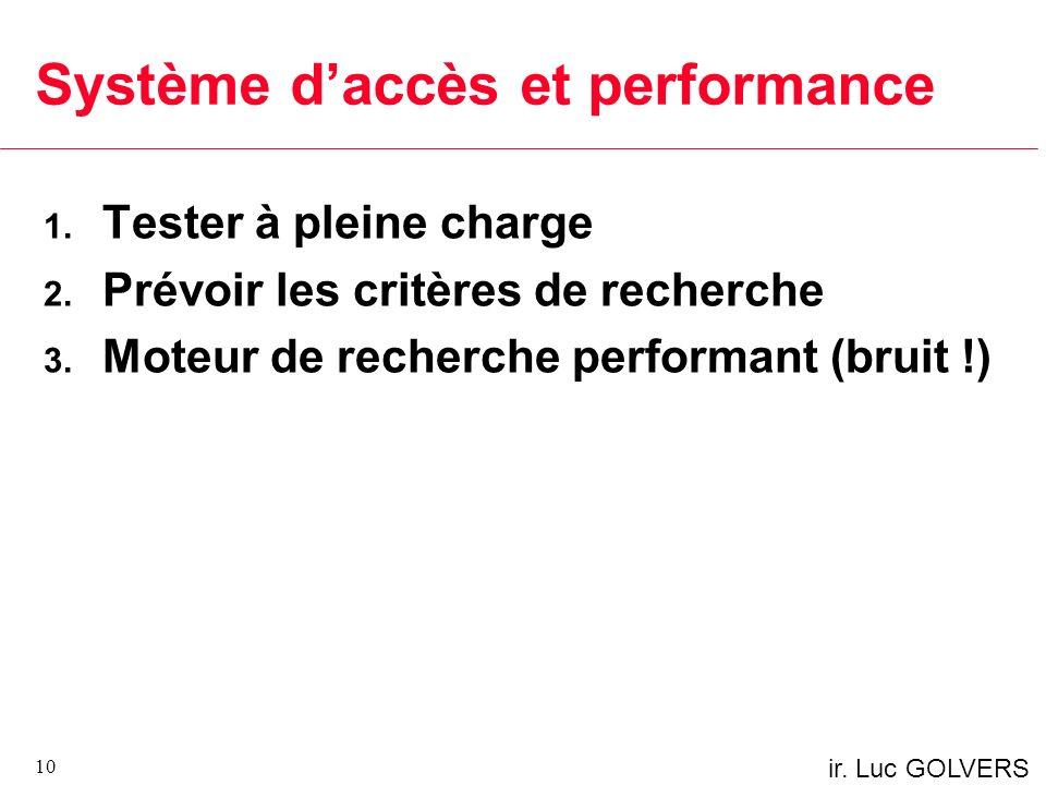 ir.Luc GOLVERS Système daccès et performance 1. Tester à pleine charge 2.
