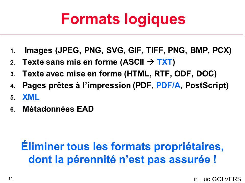 ir.Luc GOLVERS Formats logiques 1. Images (JPEG, PNG, SVG, GIF, TIFF, PNG, BMP, PCX) 2.