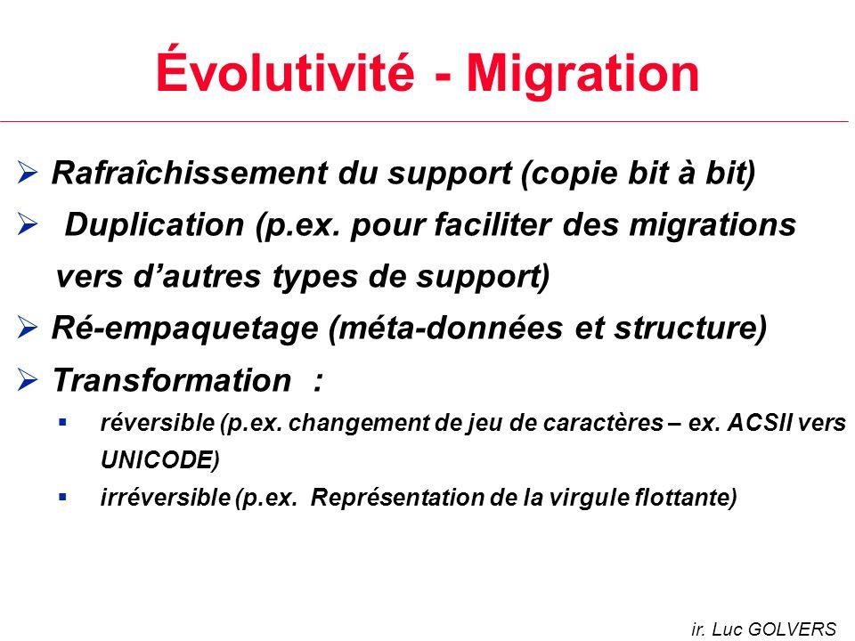 Évolutivité - Migration Rafraîchissement du support (copie bit à bit) Duplication (p.ex.