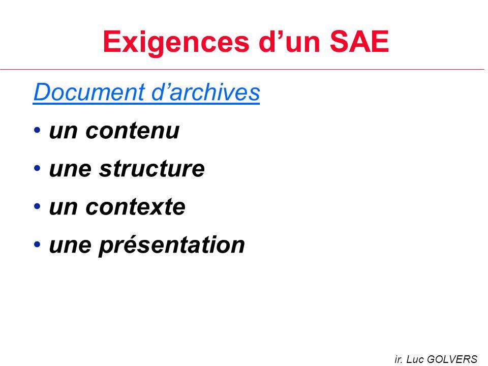 Exigences dun SAE Document darchives un contenu une structure un contexte une présentation ir.