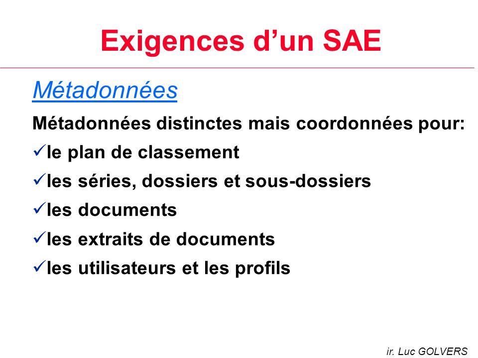 Exigences dun SAE Métadonnées Métadonnées distinctes mais coordonnées pour: le plan de classement les séries, dossiers et sous-dossiers les documents les extraits de documents les utilisateurs et les profils ir.