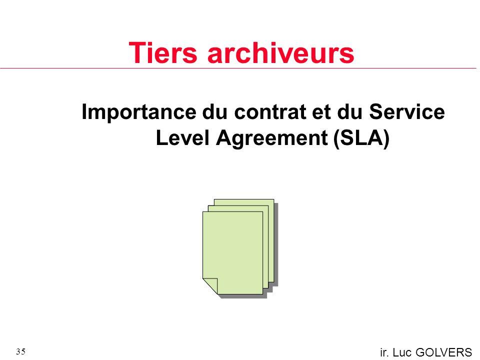 ir. Luc GOLVERS Tiers archiveurs Importance du contrat et du Service Level Agreement (SLA) 35