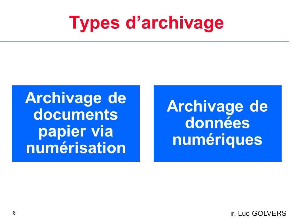 Types darchivage 8 Archivage de documents papier via numérisation Archivage de données numériques
