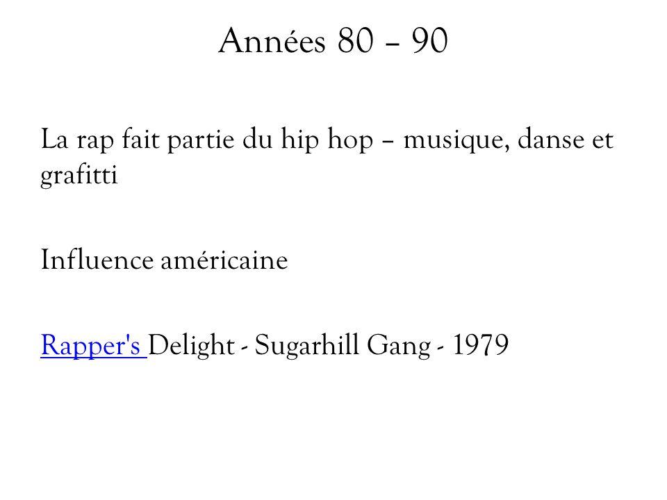 Années 80 – 90 La rap fait partie du hip hop – musique, danse et grafitti Influence américaine Rapper's Rapper's Delight - Sugarhill Gang - 1979