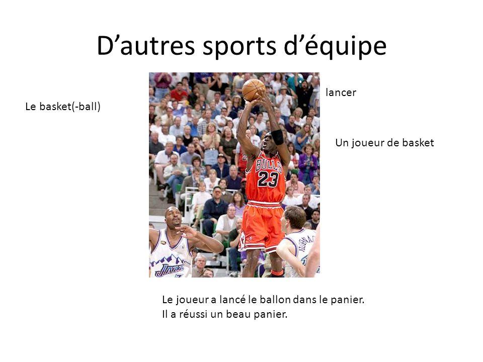 Dautres sports déquipe Le joueur a lancé le ballon dans le panier. Il a réussi un beau panier. Un joueur de basket Le basket(-ball) lancer