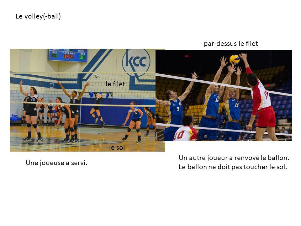 Une joueuse a servi. Le volley(-ball) le filet Un autre joueur a renvoyé le ballon. Le ballon ne doit pas toucher le sol. le sol par-dessus le filet