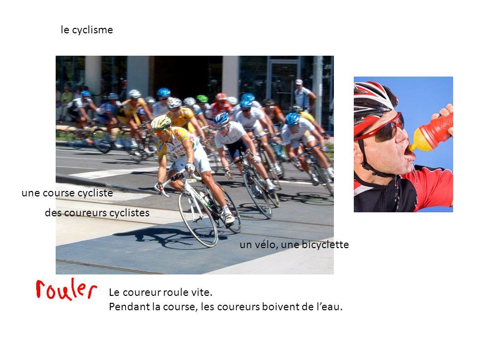 le cyclisme des coureurs cyclistes une course cycliste un vélo, une bicyclette Le coureur roule vite. Pendant la course, les coureurs boivent de leau.
