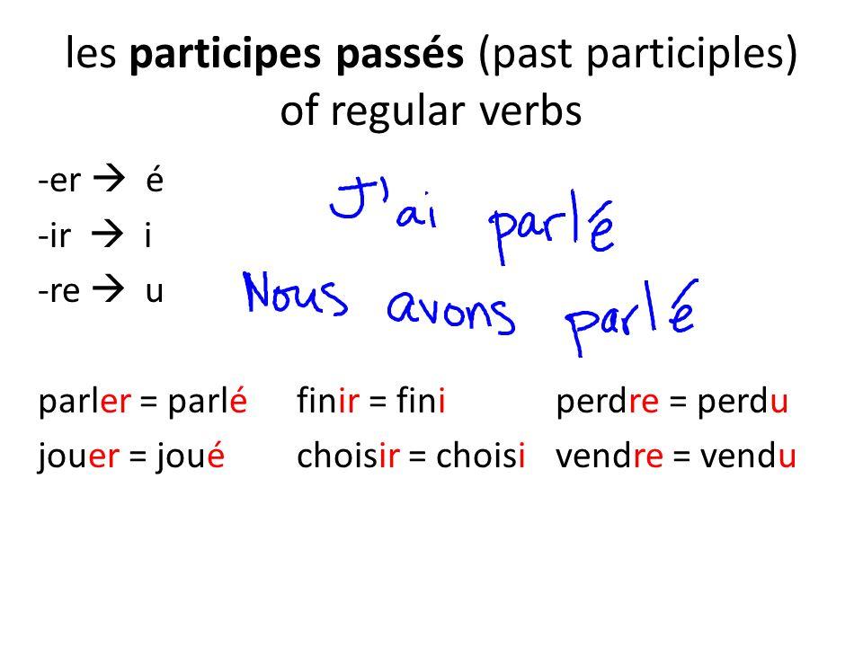 les participes passés (past participles) of regular verbs -er é -ir i -re u parler = parléfinir = finiperdre = perdu jouer = jouéchoisir = choisivendr