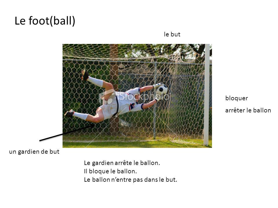 Le gardien arrête le ballon. Il bloque le ballon. Le ballon nentre pas dans le but. bloquer un gardien de but le but arrêter le ballon Le foot(ball)