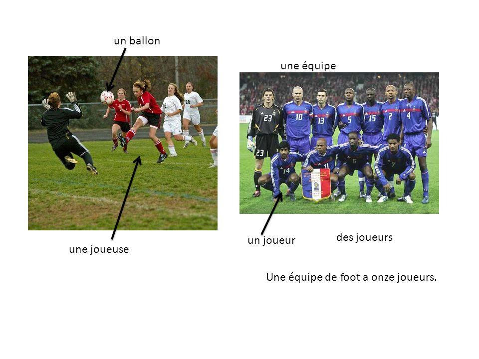 une joueuse un joueur une équipe des joueurs Une équipe de foot a onze joueurs. un ballon