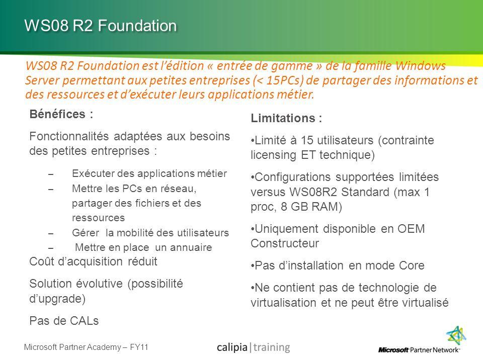 Microsoft Partner Academy – FY11 WS08 R2 Foundation Bénéfices : Fonctionnalités adaptées aux besoins des petites entreprises : – Exécuter des applicat