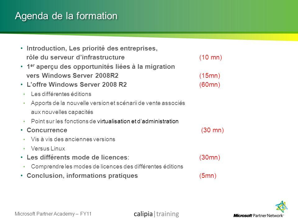 Microsoft Partner Academy – FY11 Hyper-V v2 Rôle de Windows Server 2008 R2 Pas disponible sous la forme dune mise à jour unitaire pour Windows Server 2008 Virtualisation de machines 32 bits et 64 bits Serveurs Windows et Linux (Suse et Red Hat) Postes de travail