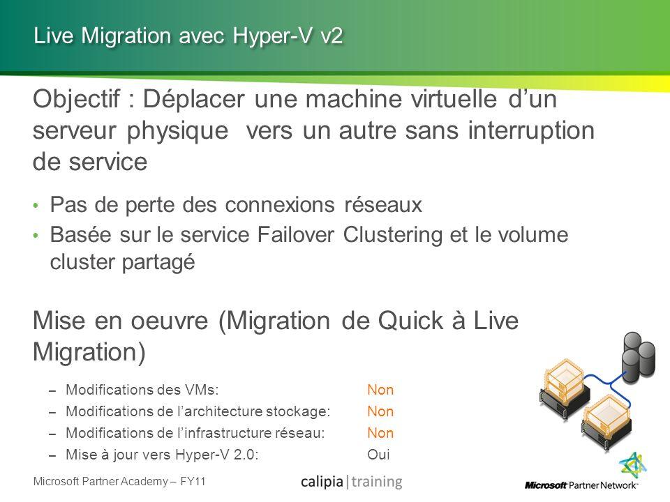 Microsoft Partner Academy – FY11 Live Migration avec Hyper-V v2 Objectif : Déplacer une machine virtuelle dun serveur physique vers un autre sans inte