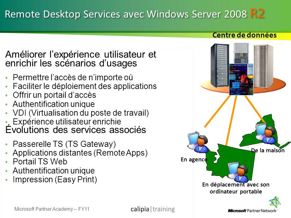 Microsoft Partner Academy – FY11 Remote Desktop Services avec Windows Server 2008 R2 Améliorer lexpérience utilisateur et enrichir les scénarios dusag