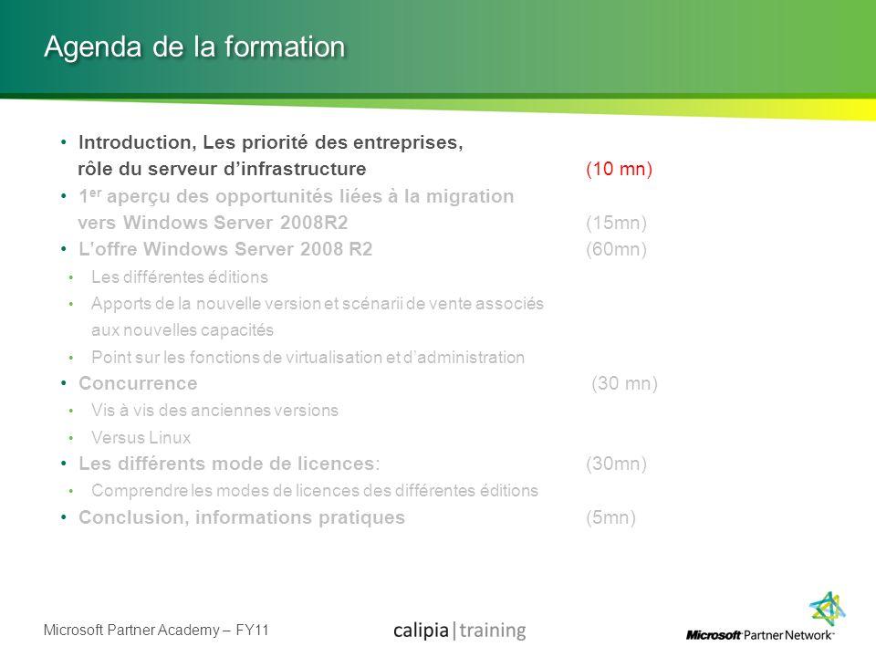 Microsoft Partner Academy – FY11 Agenda de la formation Introduction, Les priorité des entreprises, rôle du serveur dinfrastructure(10 mn) 1 er aperçu
