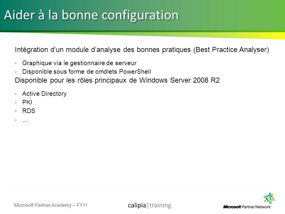 Microsoft Partner Academy – FY11 Aider à la bonne configuration Intégration dun module danalyse des bonnes pratiques (Best Practice Analyser) Graphiqu
