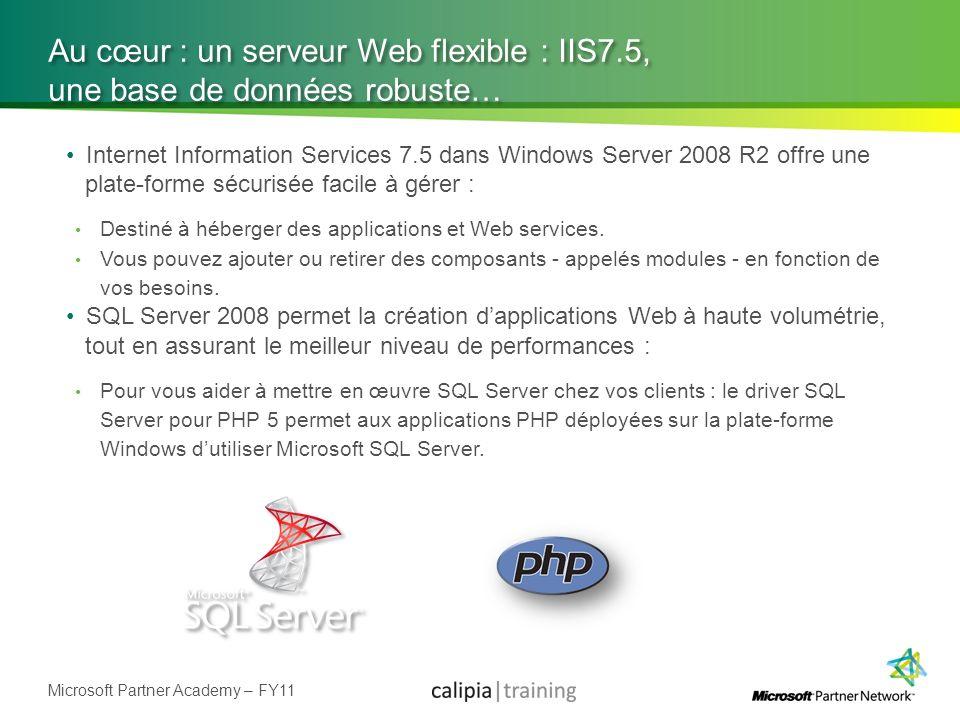 Microsoft Partner Academy – FY11 Au cœur : un serveur Web flexible : IIS7.5, une base de données robuste… Internet Information Services 7.5 dans Windo