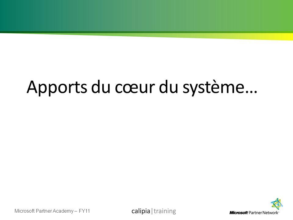 Microsoft Partner Academy – FY11 Apports du cœur du système…