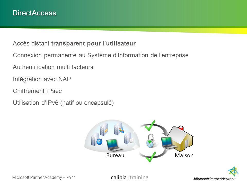 Microsoft Partner Academy – FY11 DirectAccess Accès distant transparent pour lutilisateur Connexion permanente au Système dInformation de lentreprise