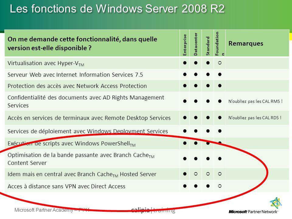 Microsoft Partner Academy – FY11 Les fonctions de Windows Server 2008 R2 On me demande cette fonctionnalité, dans quelle version est-elle disponible ?
