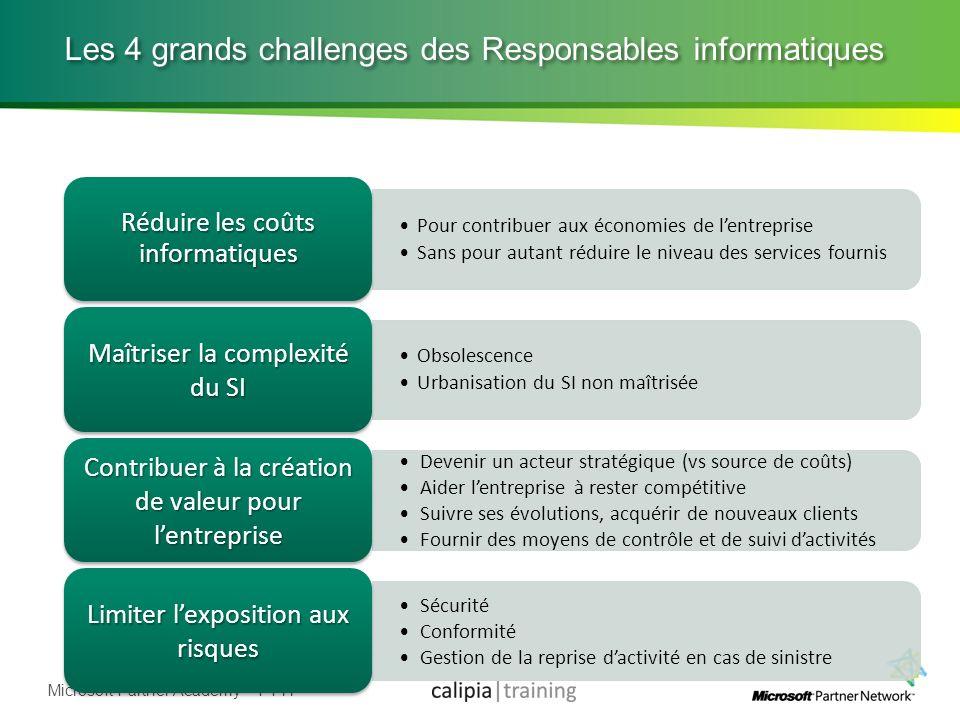 Microsoft Partner Academy – FY11 Les 4 grands challenges des Responsables informatiques Pour contribuer aux économies de lentreprise Sans pour autant