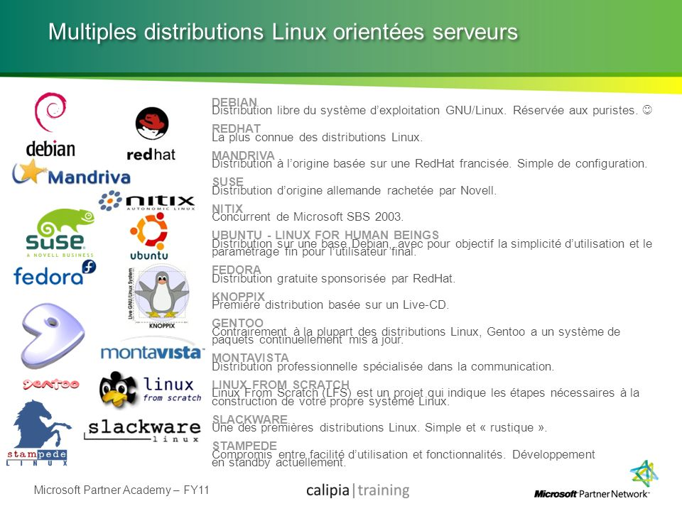 Microsoft Partner Academy – FY11 Multiples distributions Linux orientées serveurs DEBIAN Distribution libre du système dexploitation GNU/Linux. Réserv