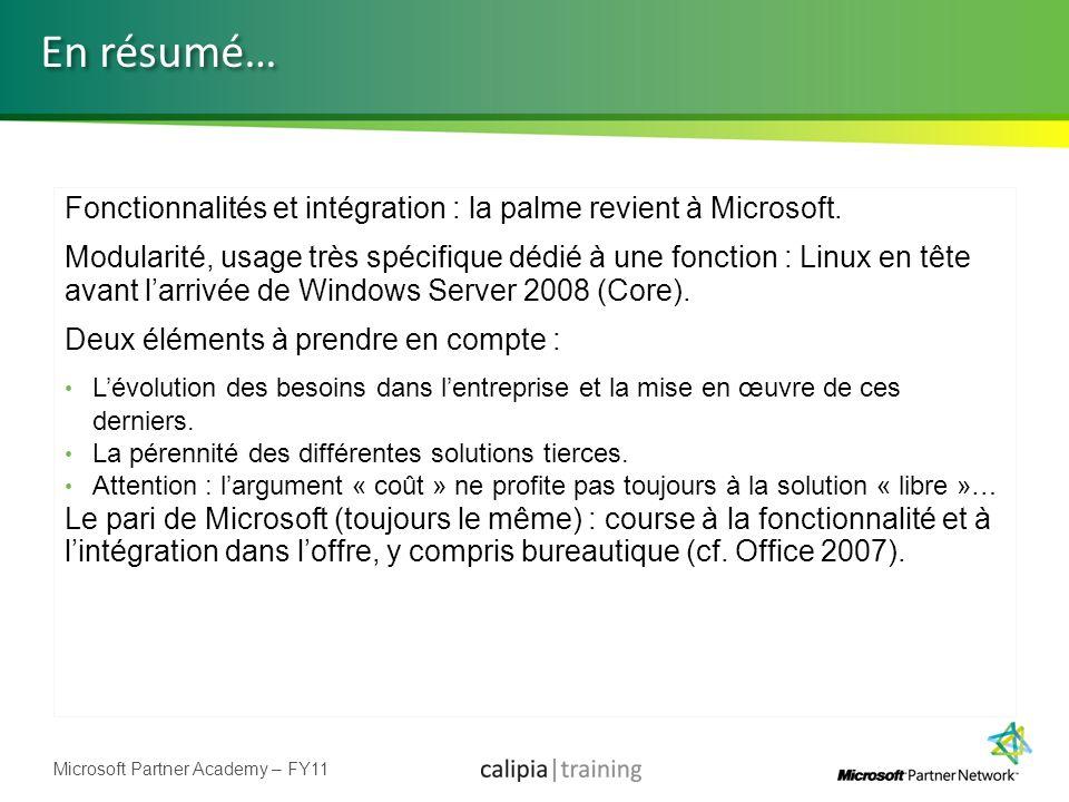 Microsoft Partner Academy – FY11 Fonctionnalités et intégration : la palme revient à Microsoft. Modularité, usage très spécifique dédié à une fonction