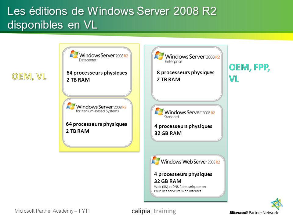 Microsoft Partner Academy – FY11 Les éditions de Windows Server 2008 R2 disponibles en VL 4 processeurs physiques 32 GB RAM Web (IIS) et DNS Roles uni
