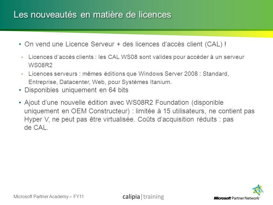 Microsoft Partner Academy – FY11 Les nouveautés en matière de licences On vend une Licence Serveur + des licences daccès client (CAL) ! Licences daccè