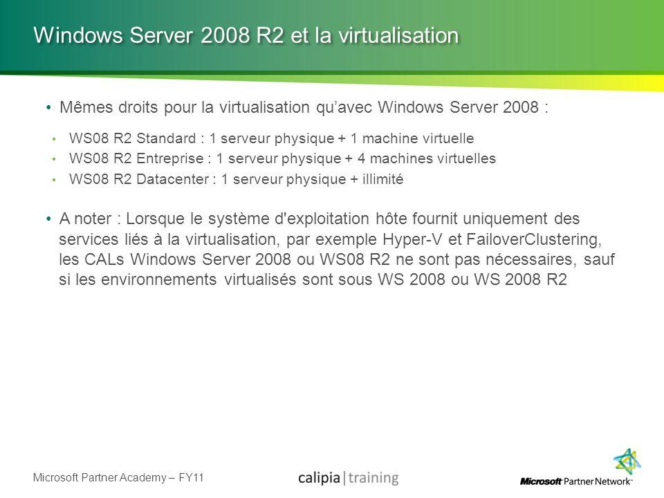 Microsoft Partner Academy – FY11 Windows Server 2008 R2 et la virtualisation Mêmes droits pour la virtualisation quavec Windows Server 2008 : WS08 R2