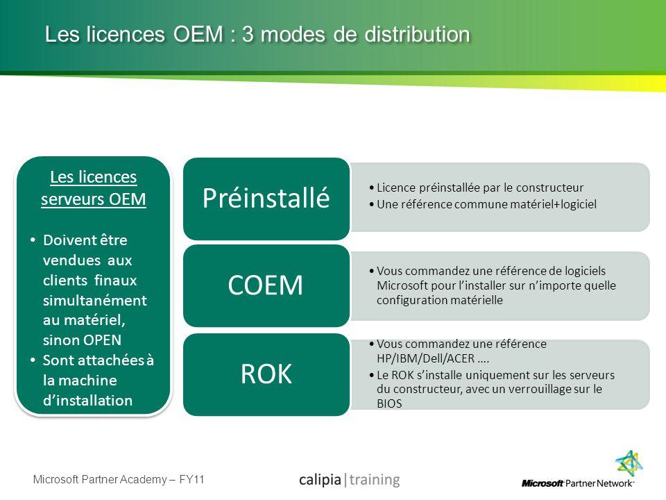 Microsoft Partner Academy – FY11 Les licences OEM : 3 modes de distribution Licence préinstallée par le constructeur Une référence commune matériel+lo