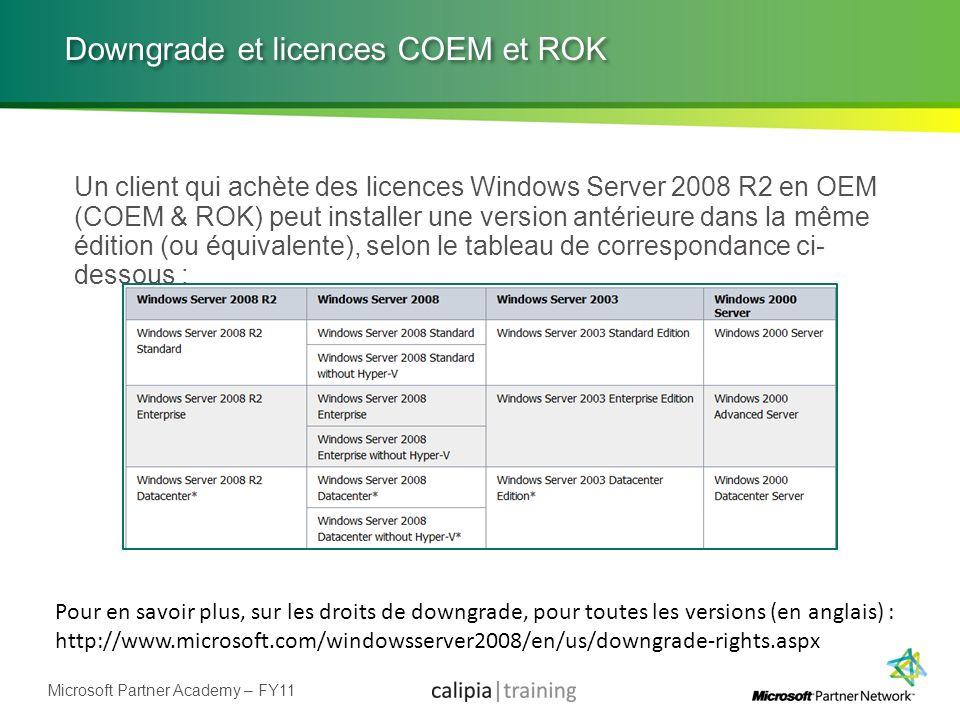Microsoft Partner Academy – FY11 Downgrade et licences COEM et ROK Un client qui achète des licences Windows Server 2008 R2 en OEM (COEM & ROK) peut i
