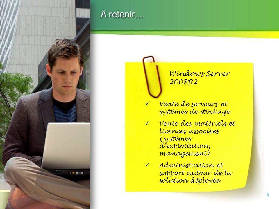 Microsoft Partner Academy – FY11 A retenir… Windows Server 2008R2 Vente de serveurs et systèmes de stockage Vente des matériels et licences associées