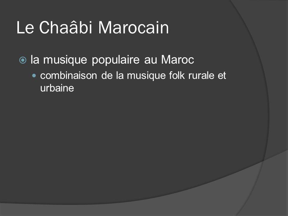 Le Chaâbi Marocain la musique populaire au Maroc combinaison de la musique folk rurale et urbaine