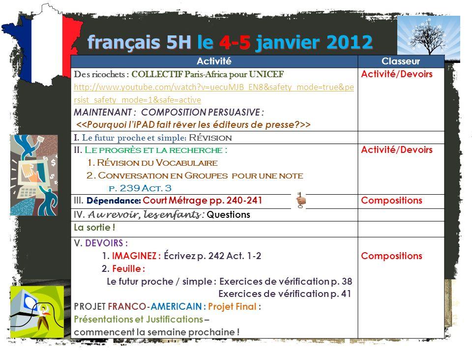 français 5H le 4-5 janvier 2012
