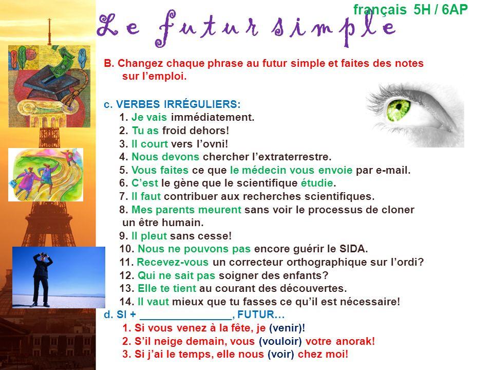 L e f u t u r s i m p l e français 5H / 6AP B. Changez chaque phrase au futur simple et faites des notes sur lemploi. a.VERBES RÉGULIERS: 1. Jexplore