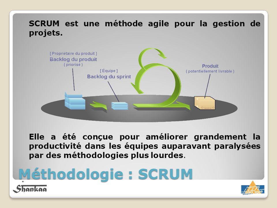 Méthodologie : SCRUM SCRUM est une méthode agile pour la gestion de projets. Elle a été conçue pour améliorer grandement la productivité dans les équi