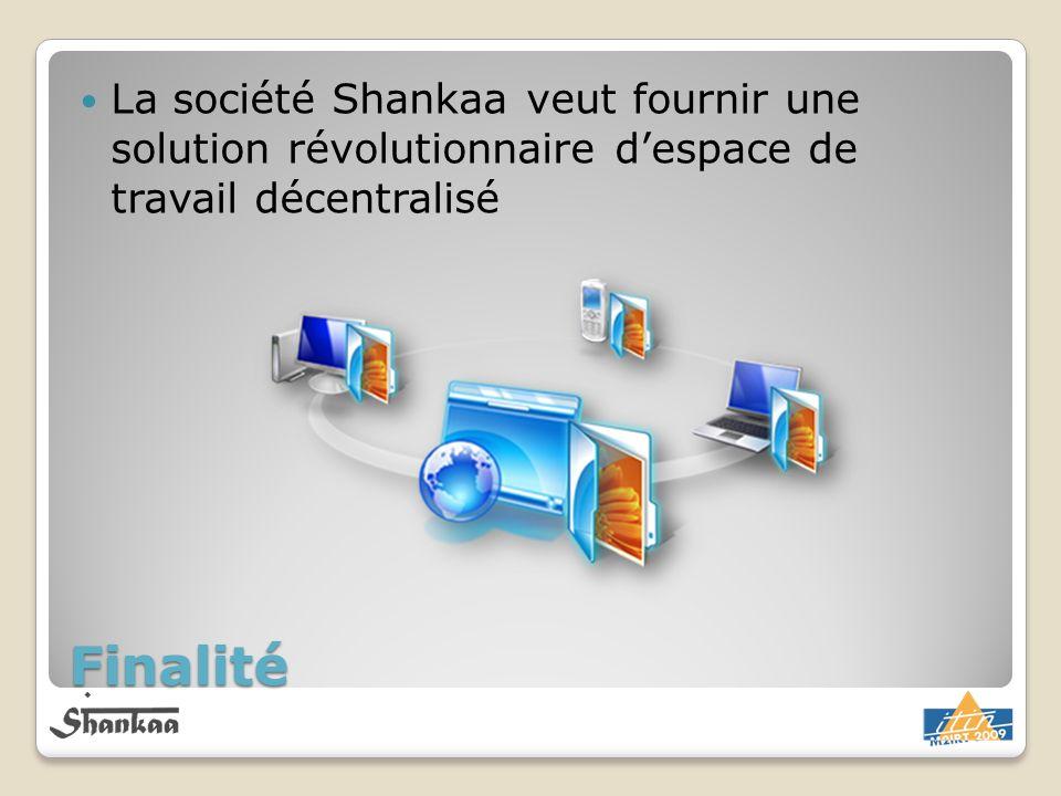 Finalité La société Shankaa veut fournir une solution révolutionnaire despace de travail décentralisé